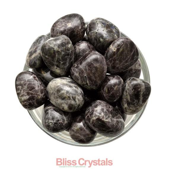 1 XL BLACK MOONSTONE Tumbled Stone aka Larkavite Mystery Stone