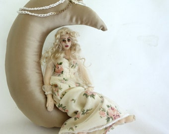 Art doll cloth moon soft sculpture wall hanging home decor MOONBEAM