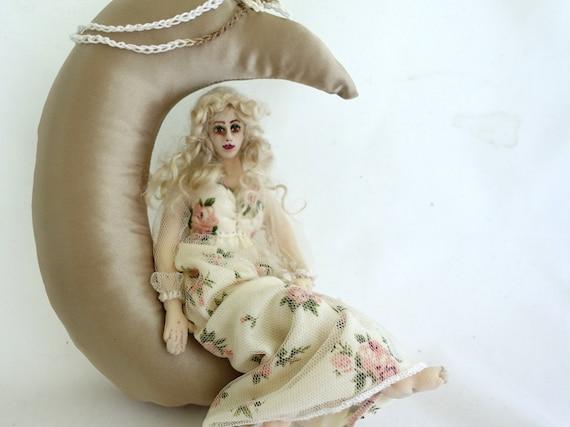 Art doll cloth moon soft sculpture wall hanging home decor MOONBEAM
