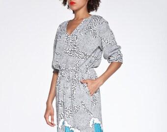 SALE amazing organic cotton shirt dress with blue wave pattern