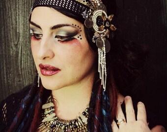 Tribal Assuit Headdress- Star- Mixed Metal Cream and Black Fusion Bellydance Headpiece