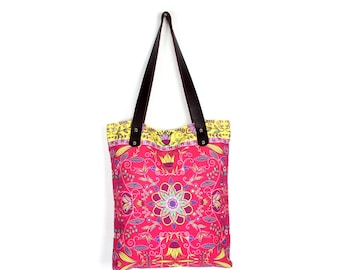 Handbag With Genuine Leather Strap Canvas Printed Screen Thailand (BG7719-1C8)