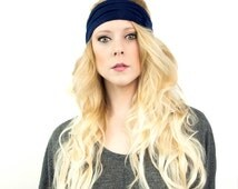 Wide Navy Headband, Adult Bohemian Workout  Blue Headwrap, Head band, Womens Fabric Hair Wrap, Boho Running Yoga Hair Accessory Gift for Her