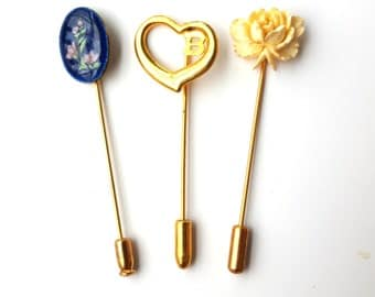 Beautiful Vintage Set of Three Long Stick Pins - Gold Tone - Blue Flowers - B Initial Heart - Cream Flower - Hat Hair Lapel Scarf Pin - Avon