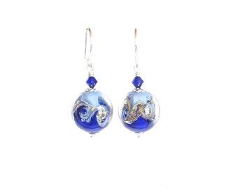 Murano Glass Cobalt Blue White Swirl Ball Earrings, Lampwork Glass Earrings, Venetian Jewelry, Sterling Leverback Earrings, Italian Jewelry