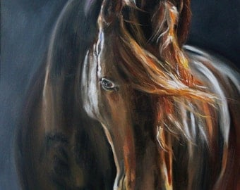"Original Oil Painting: Chestnut horse portrait ""The Horse of Your Heart"""