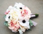 Pastel Pink, White, Ivory and Gray Wedding Bouquet with Roses, Anemones, Dahlias, Dusty Miller with Grey Satin Ribbon