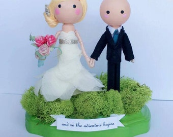 custom wedding cake topper, wooden clothespin dolls