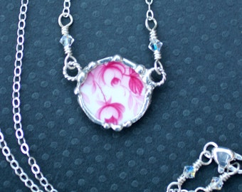 Necklace, Broken China Jewelry, Broken China Necklace, Petite Round Pendant, Bright Pink Roses, Sterling Silver Chain, Soldered Jewelry