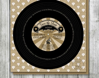 Vinyl Record Wedding Save the Date, Vintage Hollywood, Birthday Party Record Invitation, Gold Vintage Wedding, Music Theme