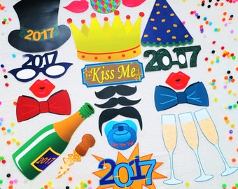 DOWNLOAD - 2017 New Year Eve photo booth props/decorations/craft - printable DIY