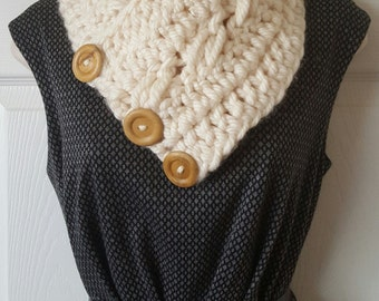Boston harbor, fisherman scarf, neck warmer cowl with buttons, chunchy infinity scarf
