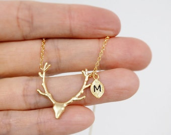 Deer Antler Necklace,Personalized necklace, initial necklace,Gold Antler Necklace,Reindeer,Personalized Jewelry,leaf initial,animal necklace