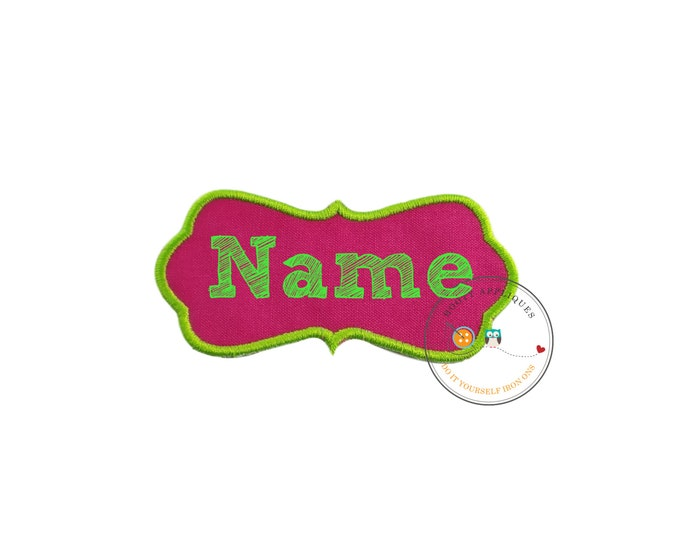 Hot pink and neon green no sew fabric applique name label, machine embroidered personalized fabric name label for girls, personalized patch