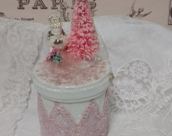 Pink Lace Christmas Box with Angel Frozen Charlotte Doll, Bottlebrush Tree, Shabby, Vintage, Pink Christmas,