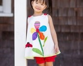 Toddler Dress - Your Sweet Garden Dress - Cotton Dress - Eco Fashion - Unique Design - Baptism - Art Design - KK Children Designs - 3M to 4T
