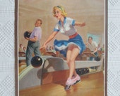 1958 Lithograph Art Frahm Pin-Up Bowling Girl Wall Hanging
