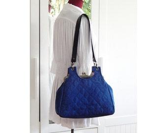 Large kiss lock shoulder bag, Jeans bag