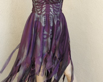 Day of the dead Dia De Los Muertos costume wedding gown labeled size 6 fits like 5 small purple corset shredded skeleton