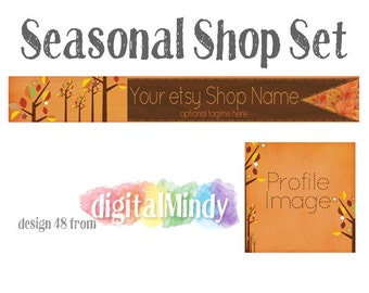 Fall Special - Premade Etsy Shop Banner and Avatar Set - Falling Leaves