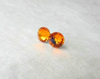 Orange Stud Earrings, Swarovski Crystal Earrings, Tangerine Orange, Small 7mm Stud Earrings, Bridesmaid Jewelry, Citrus Summer Weddings