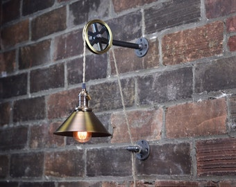Industrial Wall Sconce - Pendant Edison - Hanging Lamp - Antique Brass Shade - Edison Bulb - Wall Light