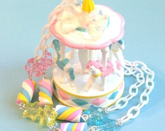 Candy Magic - Pastel Glitter Carousel Necklace with Stars and Marshmallows