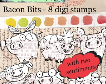 Bacon Bits - six whimsical and quirky pigs with two sentiments - 8 digi stamp set