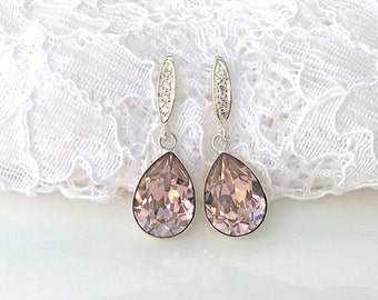 Blush Sterling Silver Earrings Blush Bridal Morganite Pink Blush Teardrop Pink Bridesmaids Pink Wedding Blush Swarovski Crystal Earrings