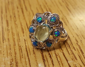 HOT Special 3.0cts Natural Aquamarine and Blue Fire Opals 925 Sterling Silver Filigree Ring Sz 7 With Free Shipping And 10% Off At Checkout