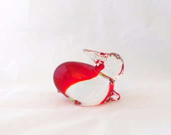 Bunny Rabbit, Hand Blown Glass Rabbit, Red and Clear, Paper Weight, Easter Bunny