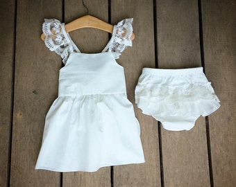 Lace Pinafore, criss cross back, ivory coming home outfit, flutter first birthday outfit, beach outfit, ready to ship, ruffle bloomers, bow