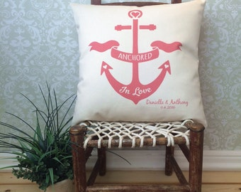 Anchored in Love Pillow Cover, Nautical Pillow, Beach Theme Pillow cover, Personalized Anchor cushion cover