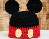 Crochet Disney Inspired Mickey Mouse Ears Beanie, Newborn through adult sizes, photo prp