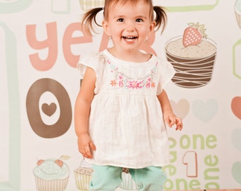 One Year Pastel - Vinyl Photography Birthday Backdrop Photo Prop
