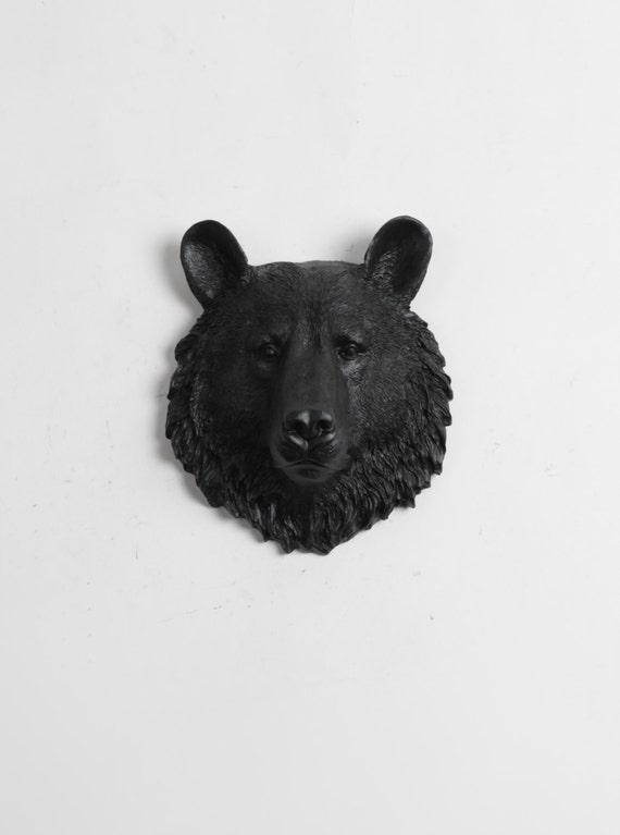Mini Bear Head Wall Mount - The Tippens Faux Bear Head Decor by White Faux Taxidermy Animal Heads - Bear Wall Art & Bear Decor in Black