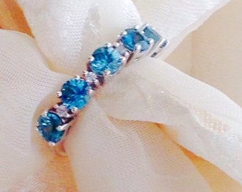Blue Zircon Eternity Ring Wedding Band White Zircon Accents Handmade Jewelry by NorthCoastCottage