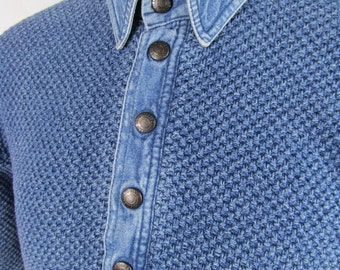 Vintage Denim Knit Mesh Woven Button Down Blue Shirt Polo Sweater