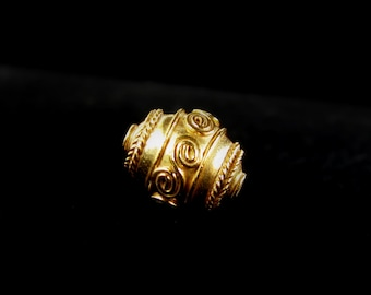 SALE Gold Vermeil Bead 1 pc Spiral Roped 11mm