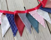 50% off SALE! Patriotic 4th of July Fabric Pennant Banner. Primitive Fourth of July Bunting. Rustic. USA. Red White & Blue. Independence Day