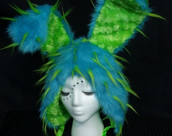 Aqua and Lime Green Spiked Furry Hood Fluffy Hat Rave Cosplay Festival EDC