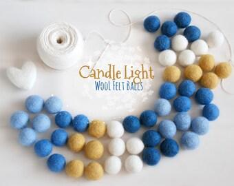 Felt Balls - Hanukkah Felt Balls #2 - 100% Wool Felt Balls - 50 Wool Felt Balls - (18-20 mm) -Felt Balls - Happy Hanukkah Garland - 2cm Poms