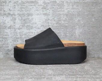 Vtg 90s Black Leather Minimal Platform Sandals 36 37