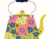 "Yellow Floral Teapot 8""x 8"" Square Art Print Vintage Enamelware Kettle"