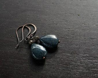 Blue Dumortierite Teardrop Earrings