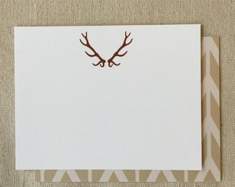 FLN523 - Antler Flat Note - set of 10 with WHITE envelope