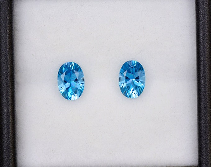 Beautiful Blue Topaz Gemstone Match Pair from Brazil 1.41 tcw.