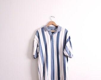Blue Striped 90s Polo Shirt