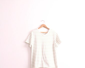 Pale Green Striped 90s Tee