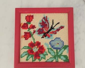 Butterfly Wall Decor, Butterfly Needlepoint, Red Aqua Wall, Vintage Wall Decor, Gallery Wall, Framed Butterfly, Floral Wall Decor